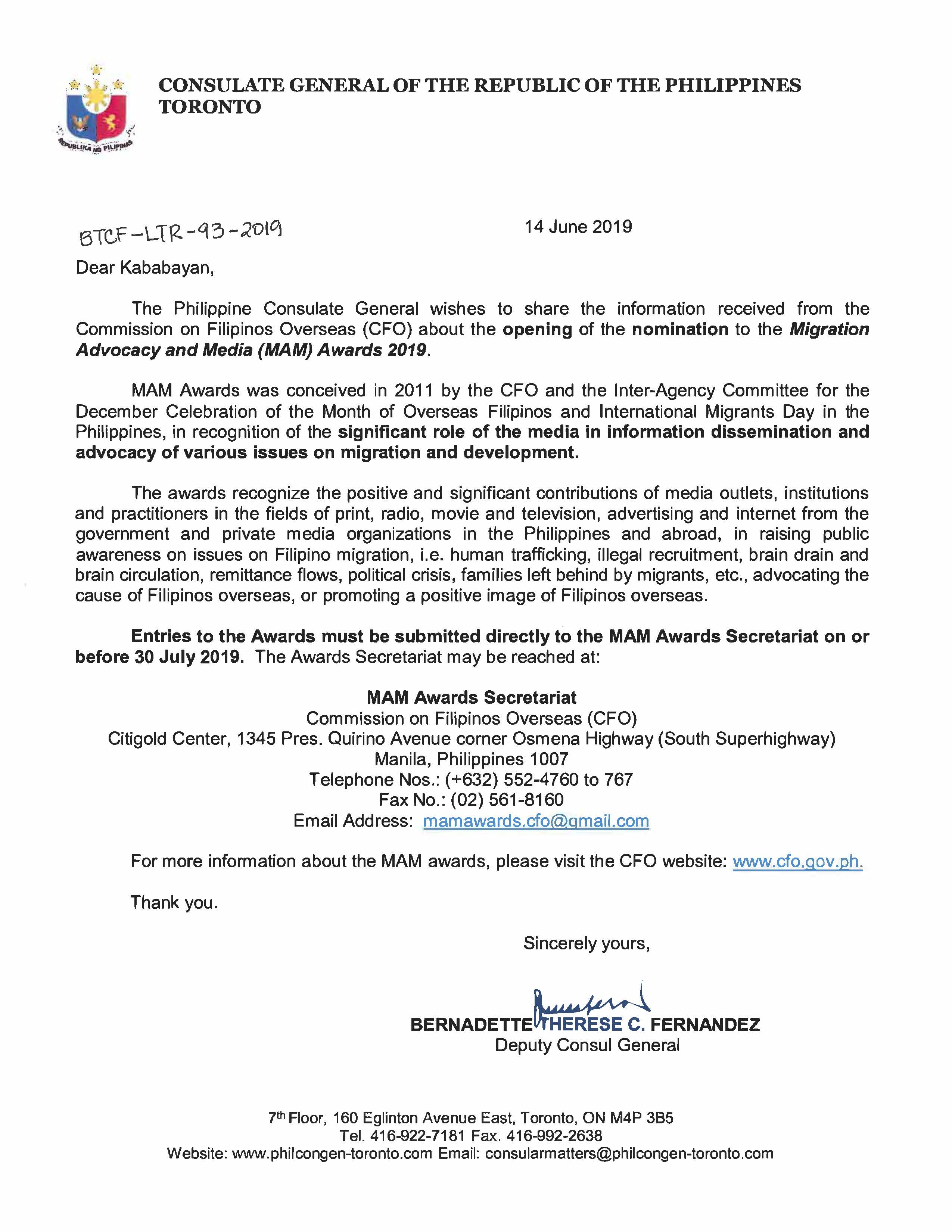 Announcements | The Philippine Consulate General - Toronto