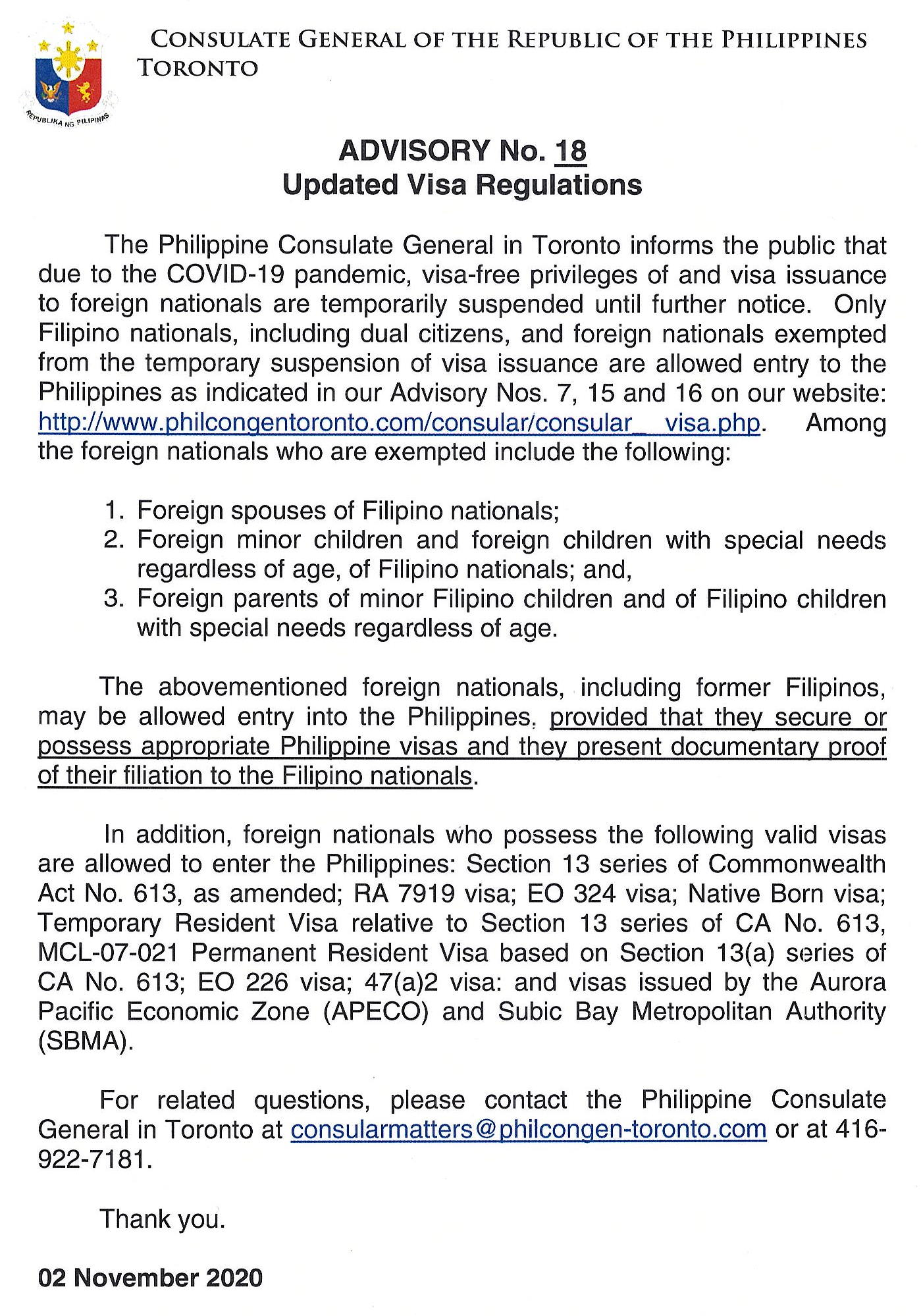 Consular Services Issuance Of Visa The Philippine Consulate General Toronto Canada